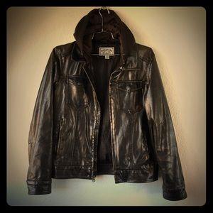 Levi's Imitation Leather Hooded Jacket Vegan Biker